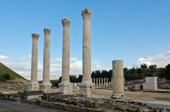 Ruins of Decapolis street at Beth Shean Royalty Free Stock Photography