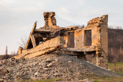 The ruins of the destroyed building Royalty Free Stock Photos