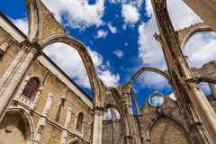 Ruins of the destroyed Carmo Church - Lisbon Portugal. Architecture background Stock Photo