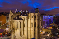 Ruins of the destroyed Carmo Church - Lisbon Portugal. Architecture background Royalty Free Stock Photo