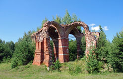 Ruins of the destroyed church. Russian remote places. Summer landscape Royalty Free Stock Photos