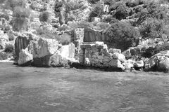 The ruins. Of the destroyed city of Turkey in black and white colors Royalty Free Stock Photos