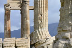Ruins details of Zeus temple in Athens Royalty Free Stock Photography