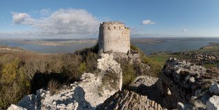 The ruins of the Devieky castle in Palava hills Stock Images