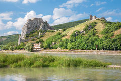 The ruins of Devin castle near Bratislava over the Danube Royalty Free Stock Photos