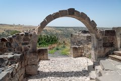 Ruins of the Dir Aziz Synagogue, built in the Byzantine period, at the beginning of the sixth century AD. It is located on the Gol. An Heights in Israel Stock Image