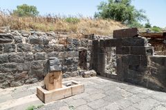 Ruins of the Dir Aziz Synagogue, built in the Byzantine period, at the beginning of the sixth century AD. It is located on the Gol. An Heights in Israel Stock Photo