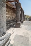 Ruins of the Dir Aziz Synagogue, built in the Byzantine period, at the beginning of the sixth century AD. It is located on the Gol. An Heights in Israel Royalty Free Stock Photography