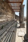 Ruins of the Dir Aziz Synagogue, built in the Byzantine period, at the beginning of the sixth century AD. It is located on the Gol. An Heights in Israel Royalty Free Stock Photos