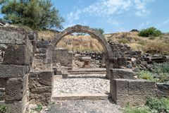 Ruins of the Dir Aziz Synagogue, built in the Byzantine period, at the beginning of the sixth century AD. It is located on the Gol. An Heights in Israel Stock Photos