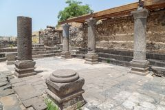 Ruins of the Dir Aziz Synagogue, built in the Byzantine period, at the beginning of the sixth century AD. It is located on the Gol. An Heights in Israel Royalty Free Stock Images