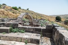 Ruins of the Dir Aziz Synagogue, built in the Byzantine period, at the beginning of the sixth century AD. It is located on the Gol. An Heights in Israel Stock Images