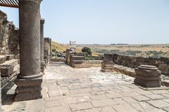 Ruins of the Dir Aziz Synagogue, built in the Byzantine period, at the beginning of the sixth century AD. It is located on the Gol. An Heights in Israel Royalty Free Stock Photo