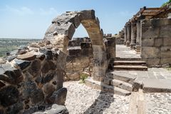 Ruins of the Dir Aziz Synagogue, built in the Byzantine period, at the beginning of the sixth century AD. It is located on the Gol. An Heights in Israel Royalty Free Stock Image