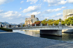 Ruins of The Dome, Hiroshima, with the new city surrounding Royalty Free Stock Image
