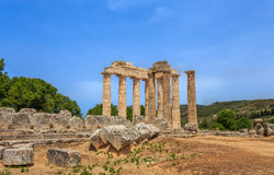 Ruins of doric temple in  Ancient Nemea, Corinthia Royalty Free Stock Photos