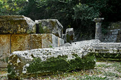 Ruins of Doric temple at Mon Repos Park, Corfu Royalty Free Stock Photography