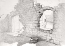 Ruins drawing. Pencil drawing of ancient ruins Royalty Free Stock Images