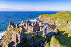 Ruins of Dunluce Castle in Northern Ireland stock photos
