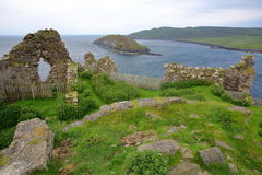 The ruins of Duntulm Castle with Tulm Island in the background in the northern part of the Trotternish peninsula, Isle of Skye, Hi Stock Images
