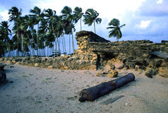 Ruins of Dutch Fort Itamaraca Brazil-some grain. View of the runis of 17th Century Dutch Fort Orange at Itamaraca, near Recife, Brazil Royalty Free Stock Photography