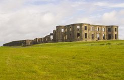The ruins of the Earl Bishop`s flamboyant house in the grounds of the Downhill Demesne near Coleraine in Northern Ireland. The ruins of the Earl Bishop`s royalty free stock photo