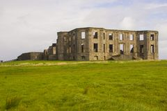 The ruins of the Earl Bishop`s flamboyant house in the grounds of the Downhill Demesne near Coleraine. On the north coast of Northern Ireland stock photography