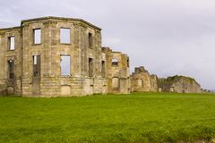 The ruins of the Earl Bishop`s flamboyant house in the grounds of the Downhill Demesne near Coleraine. On the north coast of Northern Ireland royalty free stock photography