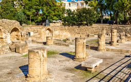 Ruins of early Byzantine basilica in Paphos Stock Photography