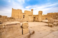Ruins of Edfu Temple of Horus in Idfu Egypt. Edfu Temple is one of Egypt best destinations for tourists and is situated in Idfu City, on the Nile, between stock photography