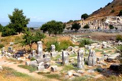 Ruins in Efes , near Mary church Royalty Free Stock Images