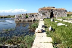 Ruins in Efes, Turkey, 13. Ancient Greek City in the Aegean Sea. Ancient ruins of the old building. More than 2000 year of history royalty free stock photography