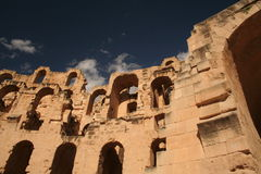 Ruins. El Jem Amphitheatre in Tunisia, or Thysdrus as it was known in Roman times Royalty Free Stock Photos