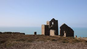 Ruins of English tin mine Cornwall UK stock video