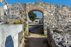Ruins of Entrance of Ancient amphitheater in the archeological area of Philippi, Greece Stock Photos