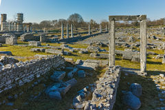 Ruins of entrance in the archeological area of ancient Philippi, Greece Stock Photography