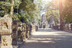 Ruins of entrance gate of the temple 12th century, Siem Reap,  Cambodia north gate Angkor Thom Stock Photography