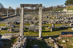 Ruins of entrance and panorama of archeological area of ancient Philippi, Greece Royalty Free Stock Photos