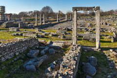 Ruins of entrance and panorama of archeological area of ancient Philippi, Greece Royalty Free Stock Photo