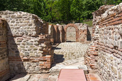 Ruins of entrance of roman bath in ancient Diocletianopolis, town of Hisarya, Bulgaria Royalty Free Stock Photography