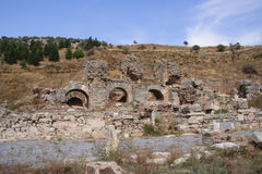 Ruins of Ephesus. Historical areal of ancient Ephesus, Turkey Royalty Free Stock Image