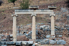 Ruins in Ephesus. This image was taken in Ephesus, Turkey. An ancient city of Turkey, there are many destroyed statues and ruins there with very attractive Stock Photo