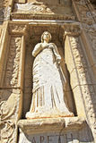 The Ruins at Ephesus, Turkey. A statue in the spectacular Library of Celcus in the ruins of Ephesus, near Kusadasi, Turkey Royalty Free Stock Photography