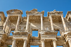 Ruins of Ephesus. A view showing part of a temple, with very intricate carvings, part of the ruins of Ephesus, Turkey Stock Photos