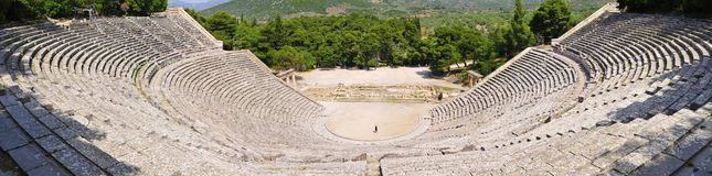 Ruins of epidaurus theater, peloponnese, greece royalty free stock image