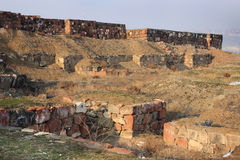 The ruins of Erebuni Fortress (Armenia) in winter Royalty Free Stock Photography
