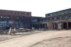 Ruins factory. Destroyed the old factory buildings Royalty Free Stock Photos