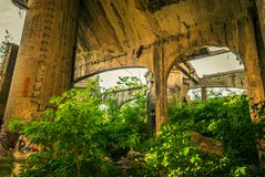 The ruins of the factory. The ruins of the old cement plant Royalty Free Stock Photo