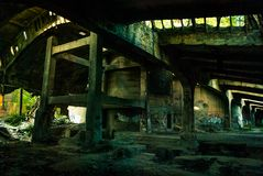 The ruins of the factory. The ruins of the old cement plant Royalty Free Stock Image