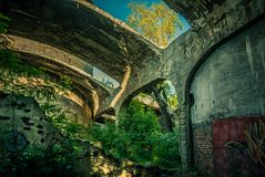 The ruins of the factory. The ruins of the old cement plant royalty free stock photography